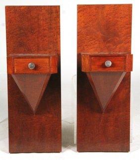 Pair Of Art Deco Walnut Wall Shelves