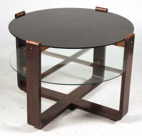 Modern Glass And Mahogany Two Tiered Table