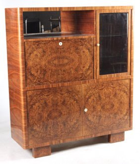 Art Deco Burlwood Display Cabinet