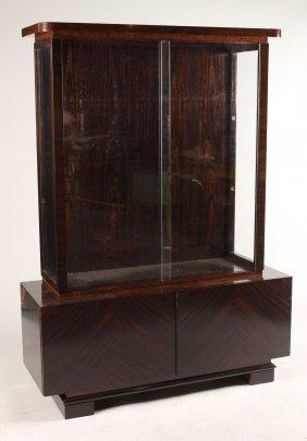 Art Deco Zebrawood Display Cabinet, Emil Gerstet