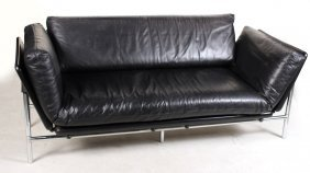 Contemporary Black-leather Upholstered Sofa