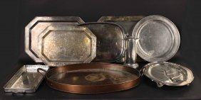 Large Group Of Silver Plated, Copper &metal Trays