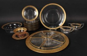 Group Of Glass Gilt Rim Decorated Plates & Bowls