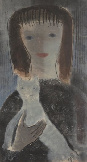 Mixed Media, Portrait Of Girl With Cat