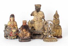 Three Thai Carved Wood Budha Figures