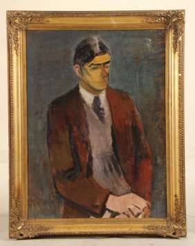 Oil On Canvas, Portrait Of Axel Bentzen