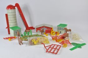 Unusual Plastic And Tin Farm Set. Including Tractor,