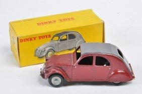 French Dinky No. 535 Citroen 2cv. Maroon Body. E In Vg
