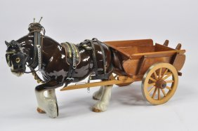 Large Scale Ceramic Shire Horse And Cart. E.