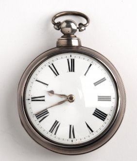Solid Sterling Silver (925‰) Pair Case Pocket Watch,