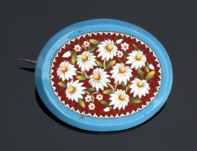 Micromosaic Brooch With Beautiful Daisies Floral