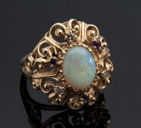 Victorian Style 14k Yellow Gold Opals And Rubies Ring,