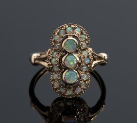 Victorian Style 9k Opals Ring, Mid 20th Century England