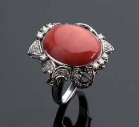 18k Gold, Coral And Diamond Ring