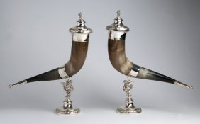 A Decorative Pair Of Silver Plate-mounted Horn Cups
