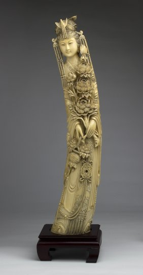 Pair Of Carved Ivory Figures Of Emperor & Empress -