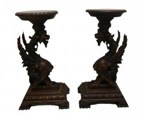 #204- The Best Pair Of Tiger Oak Winged Griffin Pedesta