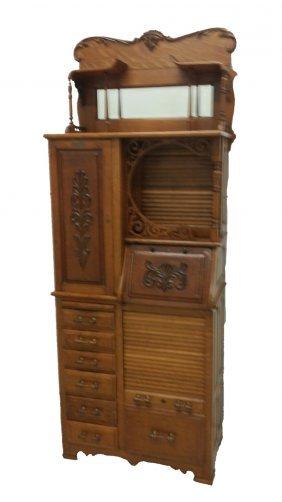 #108- Rare Tiger Oak Harvard Dental Cabinet In Immacula