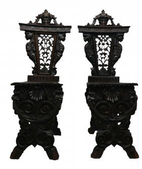 #104- Outstanding Pair Of Super Carved Oak Fantasy Chai