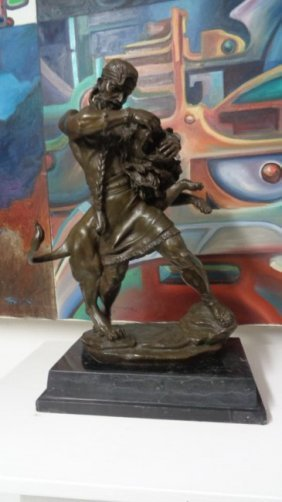 """185 Man Fight With Lion Large Bronze Statue 20""""h"""