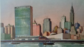Set Of 4 United Nation, New York, Print By A.r.herrick