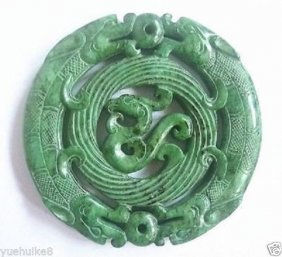 Aaa Chinese Old Handwork Carve Green Jade Dragon