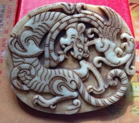 Large Old White Jade Hand Carved Dragon Pendant