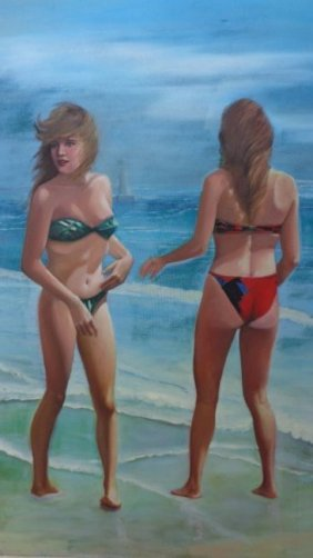 Large Original Oil Painting Beach Summer Girls