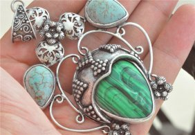 Turquoise Green Corea Jade Malachite Carved Face Retro