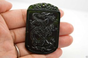 Chinese Natural Nephrite Black Jade Carving Pendant