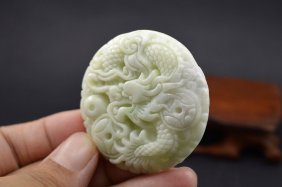 Chinese Crafted Fine Natural White Jade Pendant Dragon