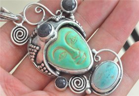 Turquoise Green Corea Jade Carved Face Retro Silver