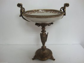 Beautiful Large Porcelain-bronze Dish-bronze Mounted