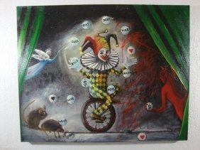 Rita Sherifi Original Canvas - The Circus Of Life