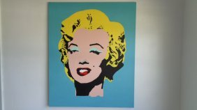 "Large Andy Warhol Style Painting Signed 36""x48"""