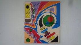 Original Abstract Geometric Painting On Canvas