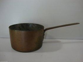 "Antique American-1800'heavy Cooper Brass Cook Pan 17"""