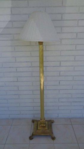 Antique Neoclassical Style Corinthian Column Floor Lamp