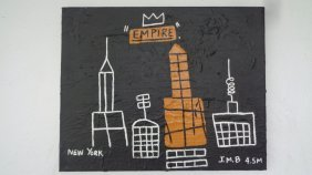 "Basquiat Style ""empire""painting Acrylic On Canvas."