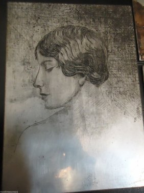Set Of Three Antique 1928 Etched Drypoint Metal Print