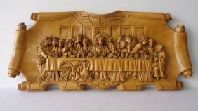 Vintage The Last Supper Carved Wood 3d Wall Plaque