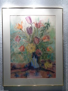 Large Original Signed B Johnston Pencil Drawing Pastel