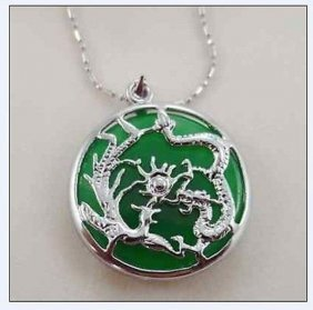 Green Jade Silvered Dragon Phoenix Pendant And Necklace