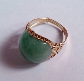 10k Pure Solid Real Gold Big Green Jade Design Ring