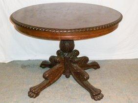 C.1850 Center Table Carved Top Acanthus Pedestal Base