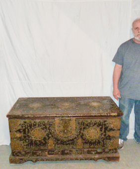 17th C. Middle Eastern Chest Ornate Metal Work