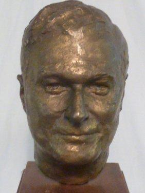 Bronze Head On Pedestal Signed Epstein