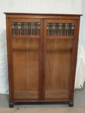Oak Larkin No.6 Leaded Two Door Bookcase