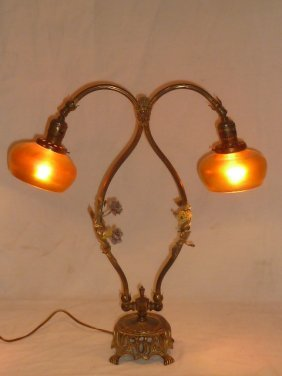 Lg. Accent Lamp Steuben Shades & Bronze Mountings