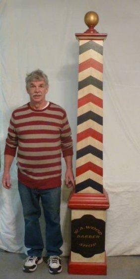 Folk Art Three Color Paint Barber Pole